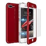 CE-LINK Coque iPhone 7 Plus Coque iPhone 8 Plus avec iPhone 7 Plus/iPhone 8 Plus Verre Trempé Film de Protection, Housse Etui 360 Degrés Protecteur Magnétique Macaron Cover 2 en 1- Rouge
