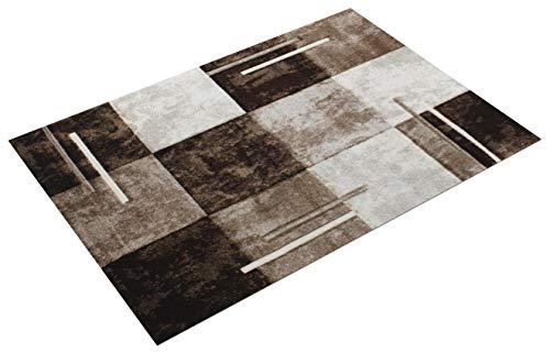 Paco Home Alfombra Moderna De Diseño Perfilado - A Cuadros Estilo Mármol - Marrón Crema, tamaño:160x230 cm