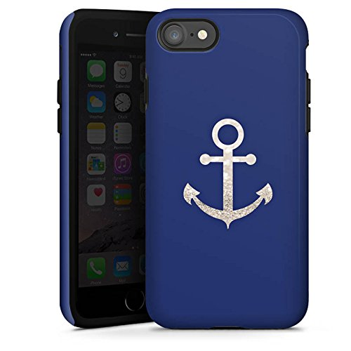 Apple iPhone 5 Hülle Premium Case Cover Anchor Anker Silber Sommer Tough Case glänzend