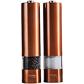 5 Grade Adjustable Ceramic Rotor-Salt and Pepper Shakers by Levav Copper GigaTent Unisexs Premium Grinder Set of 2-Brushed Mill 6 Oz Glass Tall Body