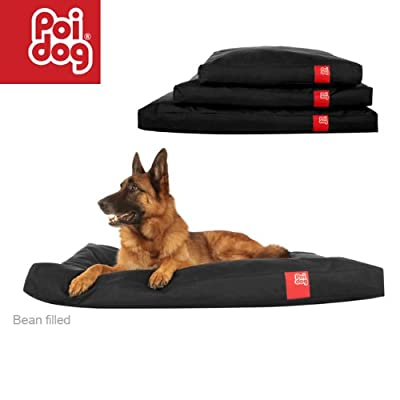 Poi Dog® XL Extra Large Dog Bean Bag - BLACK Poly Canvas Bean Bags for Dogs - Large / XL Dogs (50)