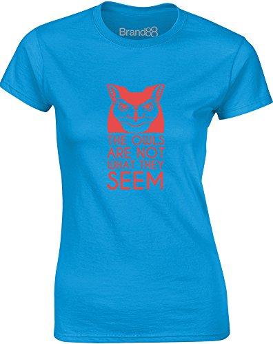 Brand88 - The Owls Aren't What They Seem, Gedruckt Frauen T-Shirt Türkis