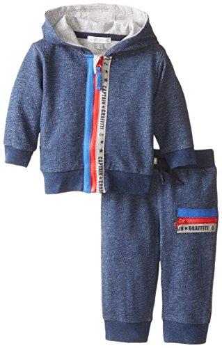Petit Lem Baby-Boys Newborn Captain Graffiti 2 Piece Sweat Suit, Navy, 3 Months