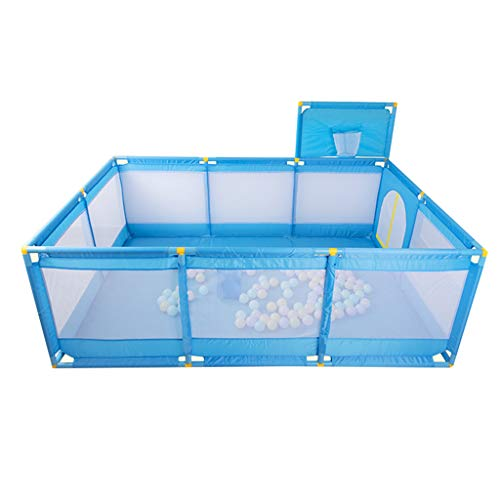 Baby laufgitter Playard de guardería para niños Grandes, Valla de Seguridad para niños con tapete, para niños, niñas, niños, Azul (Color : B, Tamaño : 128×190×66cm)