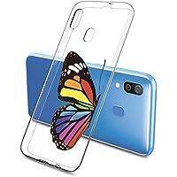 Oihxse Funda Conpatible con Samsung Galaxy A5 2018 Silicona Transparente Dibujos Mariposa Cover Suave TPU Gel Cristal Clear Delgada Anti- Arañazos Protección Carcasa Case,Colorido 2