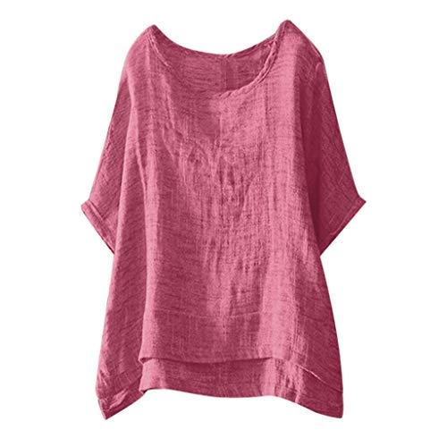 COZOCO 2019 Heiße verkaufende T-Shirt Frauen beiläufige Oberseiten-Baumwoll- und Leinenbluse Normallack-Oansatz Hemden Kurzschluss-Hülsen-lose Oberseiten
