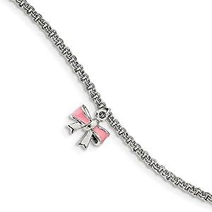 Sterling Silber Kinder emailierten Schleife mit 1In Ext Armband–13cm