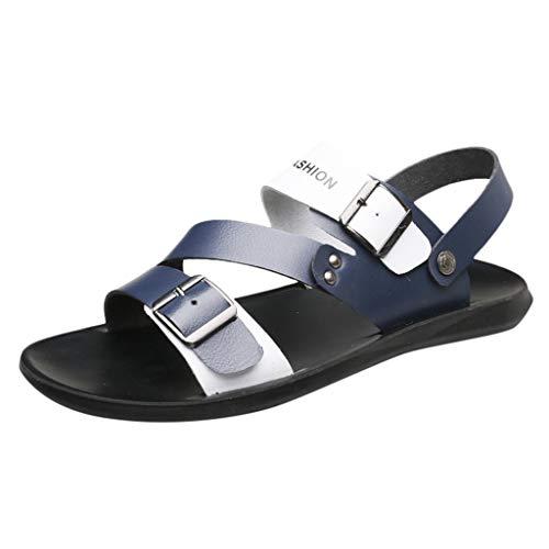 iHAZA Herren Leder Flip Flops Schuhe Freizeitschuhe Sommer Strand Sandale
