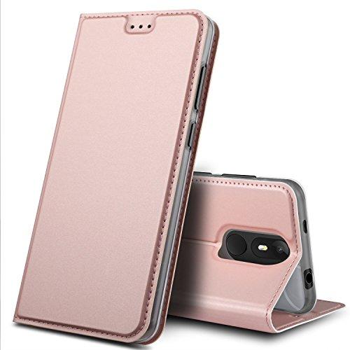 Wiko View Lite Hülle, GeeMai Premium Flip Case Tasche Cover Hüllen mit Magnetverschluss [Standfunktion] Schutzhülle Handyhülle für Wiko View Lite Smartphone, Rosegold
