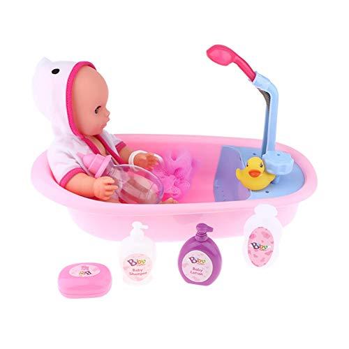 SSTARY Baby Puppen Badewannen, 12 Zoll Badepuppe Badespielzeug, Wasserspiel Badewanne mit Funktionierender Dusche und Badewannenset für Kinder, inkl. Baby Badepuppe und viel Zubehör