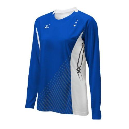 Mizuno Damen National VI Long Sleeve Jersey, Damen, Royal/Weiß (Mizuno Trikot Volleyball)