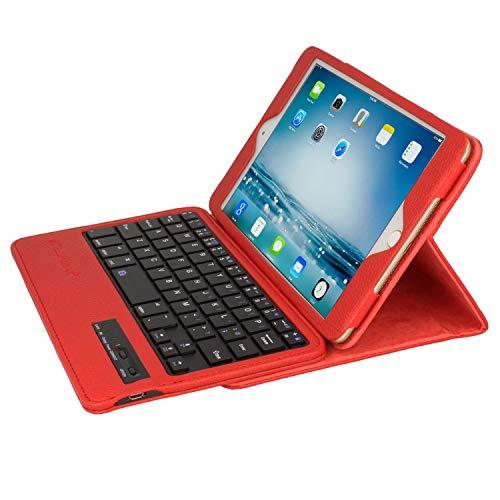 TECHGEAR® ABS Case Etui Hülle Tasche PU Ledertasche mit Built in Abnehmbare Bluetooth Drahtlose UK-Tastatur und Ständer rot rot iPad Mini (Mini 4 / 3 / 2 / 1)