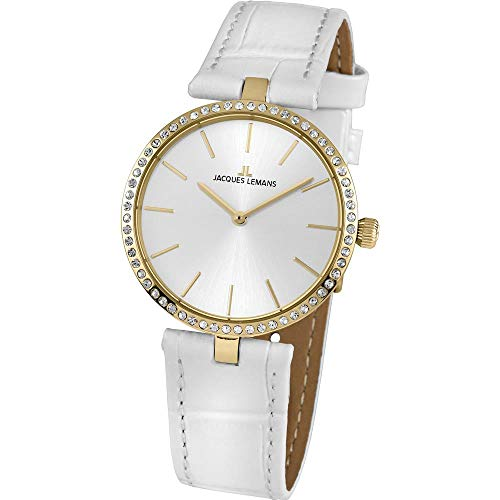 Jacques Lemans Women's Milano 34mm White Leather Band Quartz Watch 1-2024K
