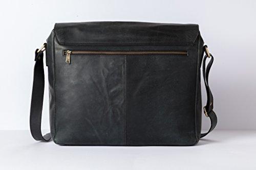 HOLZRICHTER Berlin - Premium Umhängetasche (M) aus Leder - Handgefertigte Messenger Bag im Vintage Design - Ledertasche für Herren und Damen - camel-braun schwarz anthrazit
