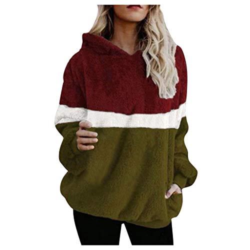Damen Kapuzenpullover Pullover Pulli Hoodie Sweatshirt mit Kapuze Sweater Jacke Mantel Langarm für Frauen Oversize Herbst Winter Locker Fit Warm Große Größen Strickpullover Mode Sweater -