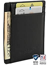 Delgada cartera de cuero de Walden para hombres y mujeres. Organizador de tarjetas negro con bloqueo RFID, 4 huecos para tarjetas de crédito y 1 para dinero/billetes. Ideal para trabajar y viajar.