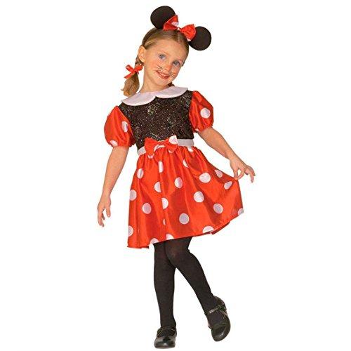 Kleine Maus Kostüm Minnie Kinderkostüm 110 cm Mäuschen Mädchenkostüm Mäuse Outfit Disney Kleid mit Mausohren Mouse Tierkostüm (Minnie Maus Schwarz Kleid Kostüm)