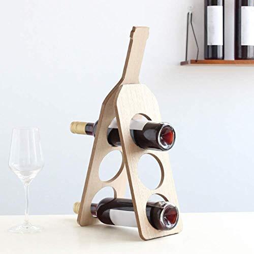 Kreatives Holz Weinregal faltbar 3-lagig Weinflaschenhalter Massivholz Weinregal Dekoration -