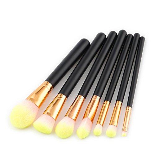 Kit de Pinceau maquillage ,Moonuy Kit de maquillage brosse à outils make-up trousse de toilette Poudre teinte fard à paupières pinceau cosmétique LIP Ensemble de brosse de maquillage de laine 7 pcs (B)