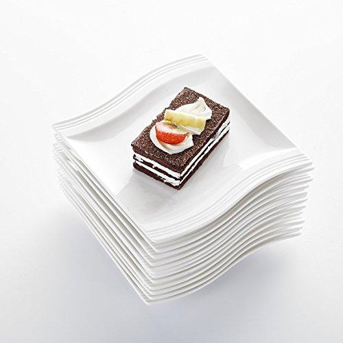 """MALACASA, Serie Flora, 12 teilig Set Cremeweiß Porzellan Flachteller Speiseteller Essteller Teller je 5,5\""""\""""/14 * 14,5 * 2cm für 6 Person"""
