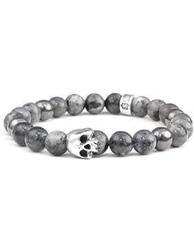Sterling Silber Skull Totenkopf Armband Larvikit Edelstein Perlen Herren und Damen Schmuck Größe Large 19cm