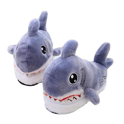 Cute Shark Head Cotton Slippers Animal Slippers Non-Slip Thick Bottom 3D Plush Cotton Slippers