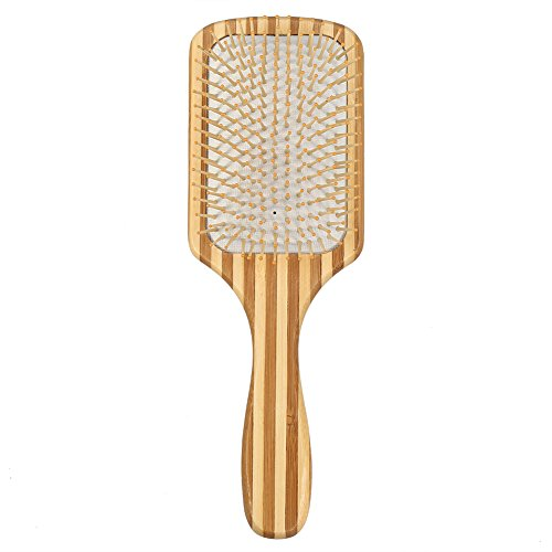 Filfeel Cepillo de Pelo, Cuidado de Pelo de Bambú Natural Cepillo de Masaje de Cuidado de la Paleta Antiestática (4#)
