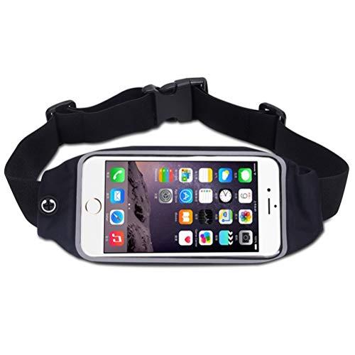 Shauzeh Wasserdichte Taillengürtel für Laufen mit Display-Touchscreen, Handygürtel für Reisen, Geld, Gürteltasche für Wandern, Fitness, Sport, Unisex, Schwarz -
