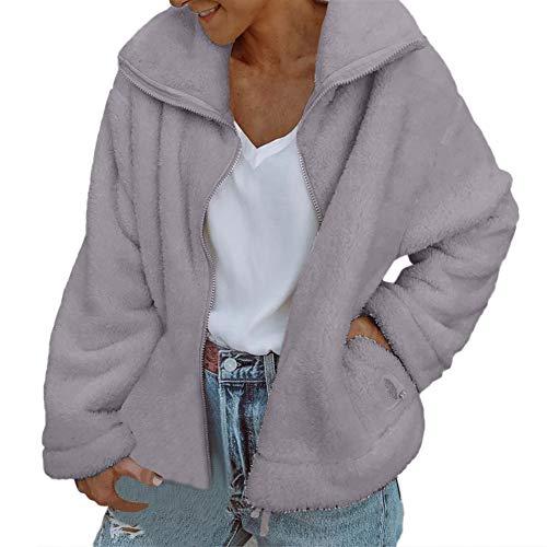 kingko Damen Mantel Teddy Cardigan Faux Für Revers Oversize Plüschjacke Winterjacke Kurz Coat Parka Outwear Mit Tasche Reißverschluss Mantel Mode Kurz Coat Einfarbige (XL, Grau)