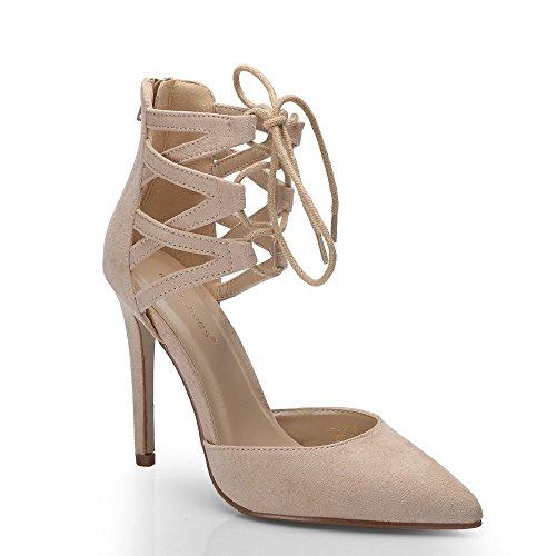 Ideal Shoes - Escarpins à lacets effet daim Palma Beige