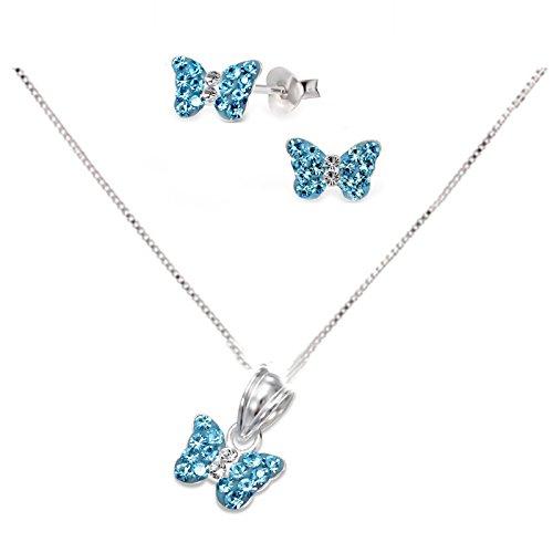 SL-Silver Set Kette Kinder Ohrringe Anhänger Schmetterling Kristall 925 Silber in Geschenkbox