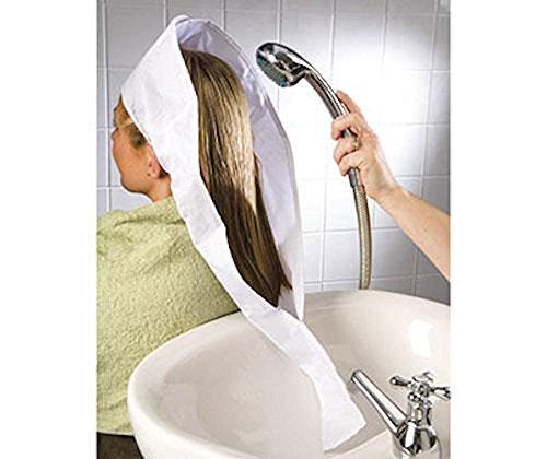 HAIR WASHING BIB / FUNNEL FOR SINK / BASIN (ADULT OR CHILD SHAMPOO AID BACKWASH TRAY BY KLEENEZE)