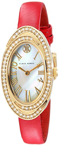Klaus Kobec Women's KK-10022-03 Tanisha Swarovski Crystal-Accented Stainless Steel Watch with Red Leather Band