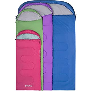 KingCamp Oasis 3 Season Sleeping Bag Adults with Compression Sack in 6 Colours Left & Right Zipped sleep-bags Joined for Extra Space for Outdoor & Indoor (Blue R)