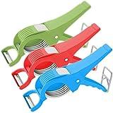 Ketsaal Plastic Vegetable Cutter, (Pack of 3, Multi Color)