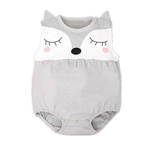puseky Baby Mädchen Jungen Fuchs Spieler Kleinkind Overall Body Keidung, Grau 0-6 Monate