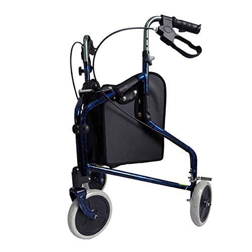 QINAIDI Leichtes 3-Rad-Rollator-Gehgestell aus Aluminium mit Feststellbremsen und ergonomischen Handgriffen -