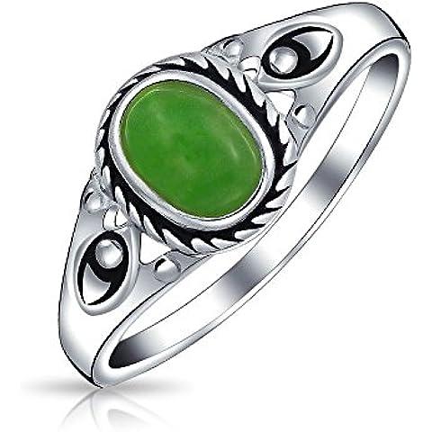 Bling Jewelry Argento Sterling colorato di verde giada corda in stile vintage anello sottile