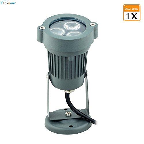 ELINKUME 3W Projecteur LED AC 100-240V Eclairage Exterieur Imperméable Blanc Chaud 190 Lumens