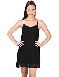 Sleeveless Plain Color Night Dress- Black