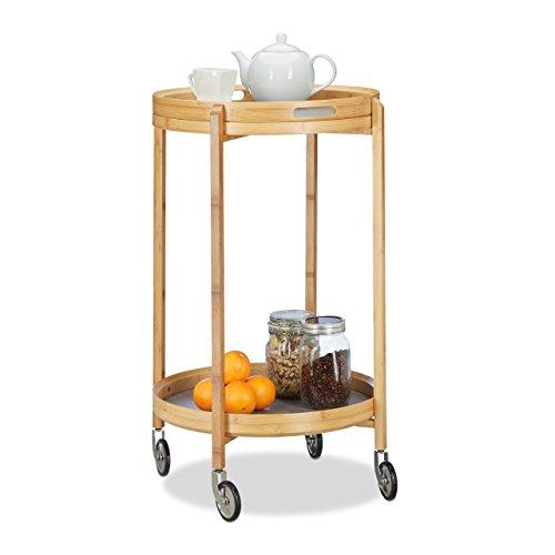 Relaxdays Desserte de Cuisine Bambou Chariot à roulettes Rond Plateau de Service 2 Niveaux 80 cm de Haut, Nature/Gris, 49 x 49 x 78,5 cm