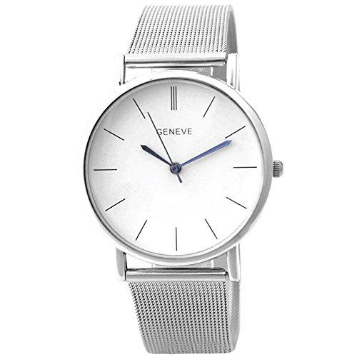 Armbanduhr - Geneva Damen Armbanduhr, Frauen Damenuhr Silber Netz band Armbanduhr ,Silber