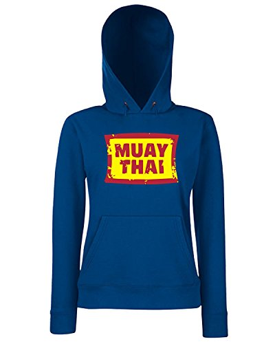 T-Shirtshock - Sweats a capuche Femme TBOXE0056 Muay Thai Bleu Navy