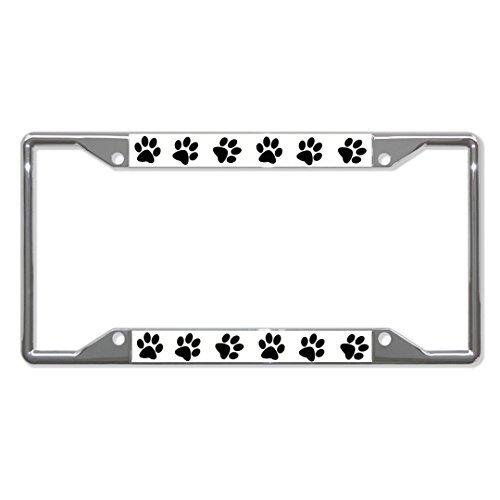Saniwa Nummernschild Abdeckungen Hundepfote Pfoten Chrom Metall Nummernschild Rahmen Halterung Vier Löcher (Abdeckung Hamilton)