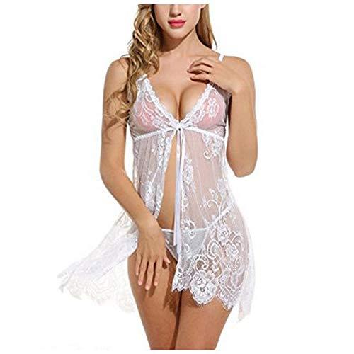 Erotic underwear-ZY Kostüme für Erwachsene Sexy Dessous Porno Körper Unterwäsche Frauen Babydoll Pyjama Kleid Mini Nachtwäsche Blume Spitze V-Ausschnitt Nachtwäsche Strap Chemise @XXL_As - Matching Pair Mädchen Kostüm