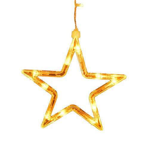 Led Pentagramm Stern Vorhang Eis Lampe Blinkende Laterne Hintergrund Lampe Zimmer Hochzeit Weihnachten Neujahr Dekorative Lampe String (6 Große 6 Kleine Batterie + USB Dual Use) -