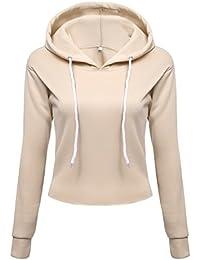 7d86b8c2d786 Sexy Damen Hoodie Kapuzenpullover Pulli Crop Bauchfrei Fitness Sweatshirt  Langarm Tops mit Kapuze