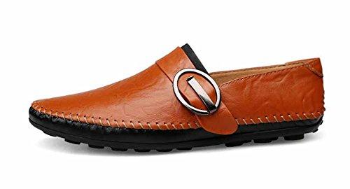 Uomini Casuale Loafer Scarpe Nuovo Leggero Appartamenti Scarpe Fatto A Mano Slip On Oxford Guida Scarpe Orange