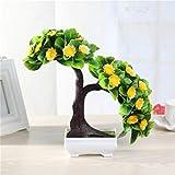 Huah Camera da Letto di plastica Fiori Finti, di Fascia Alta di Simulazione della Rosa Fiore di Seta del Vestito, Il Giardino Domestico Decor Pot (Size : Yellow)