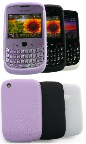 Silikon-Schutzhülle für BlackBerry 8520 Curve / 9300 Curve 3G, Weiß / Schwarz / Flieder, 3 Stück